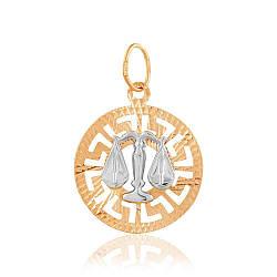 """Подвеска-кулон знак зодиака """"Весы"""", комбинированное золото, П0112/10 edem"""