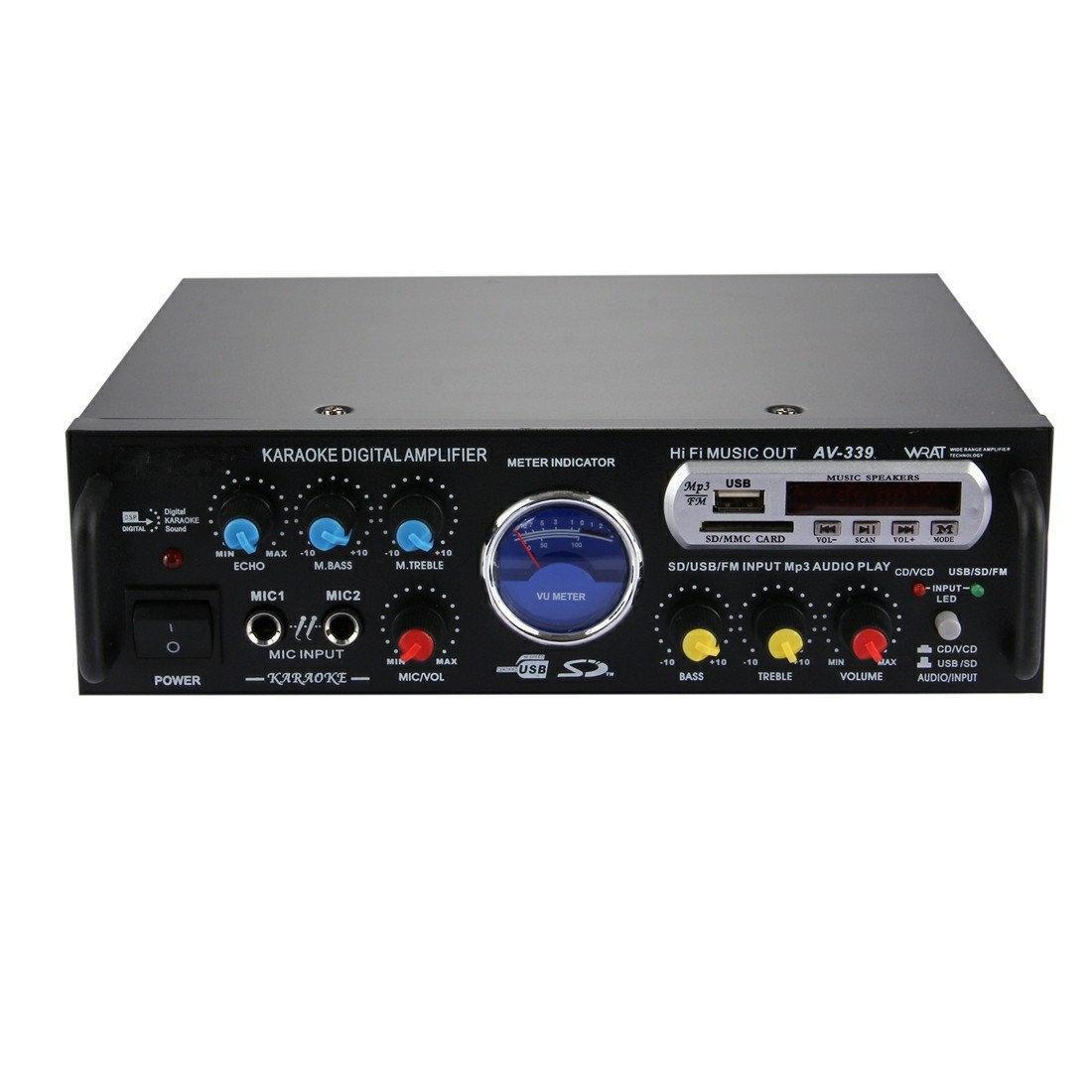 Купить Усилитель мощности звука UKC AV-339BT 300W + караоке на 2 микрофона