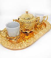 Кофейный сервиз MCA Vizyon из мельхиора с позолотой, фото 1