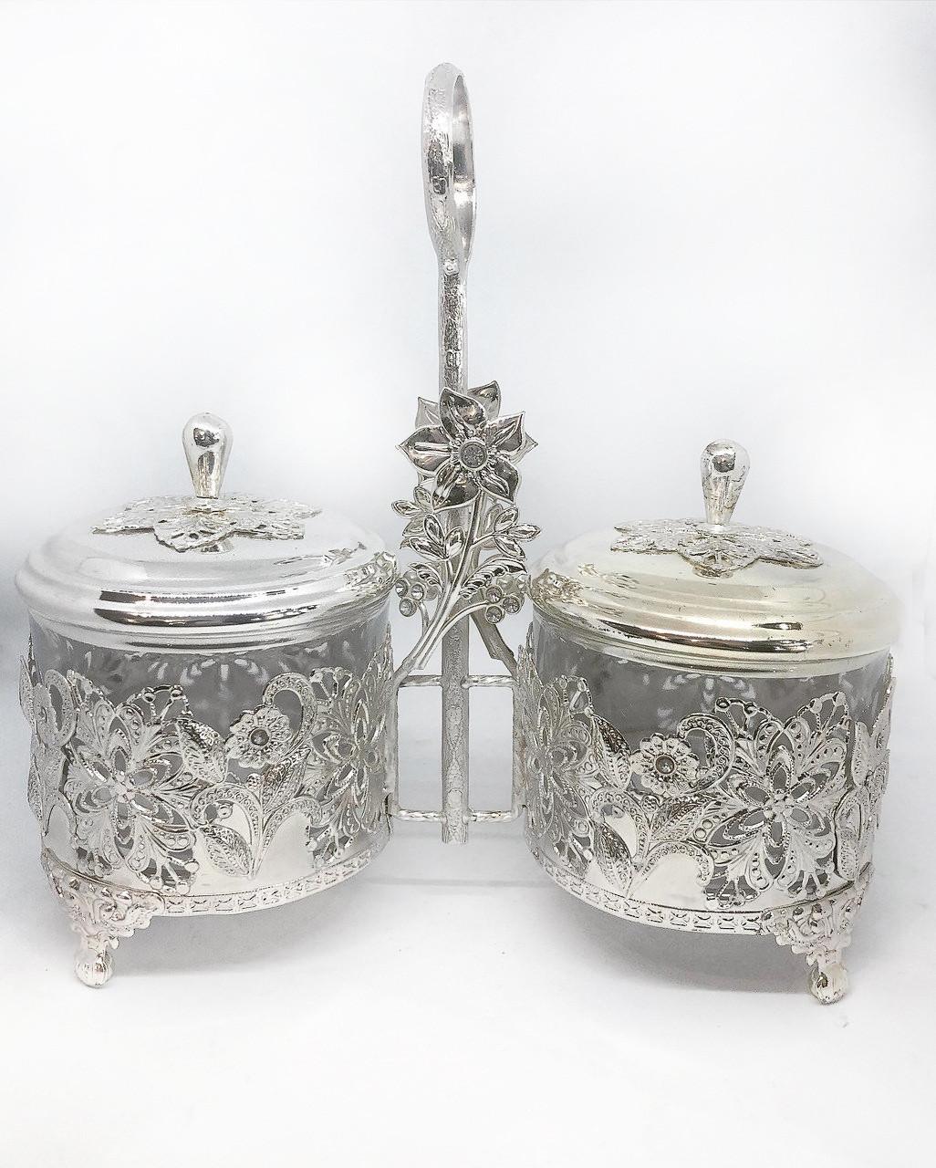 Сахарница двойная MCA Vizyon из мельхиора с посеребрением украшена узором Цветы