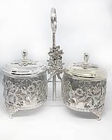 Сахарница двойная MCA Vizyon из мельхиора с посеребрением украшена узором Цветы, фото 1