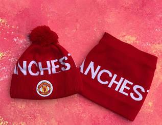 Шапка и горловик Манчестер Юнайтед комплект красный