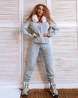 Костюм Doratti Ксения теплый шерстяной вязанный кофта с капюшоном и эко-мехом и штаны Ddor1239, фото 1