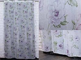 """Тюль лён, полупрозрачная ткань с сиреневыми цветами. Коллекция """"Лорен"""".Код 420т"""