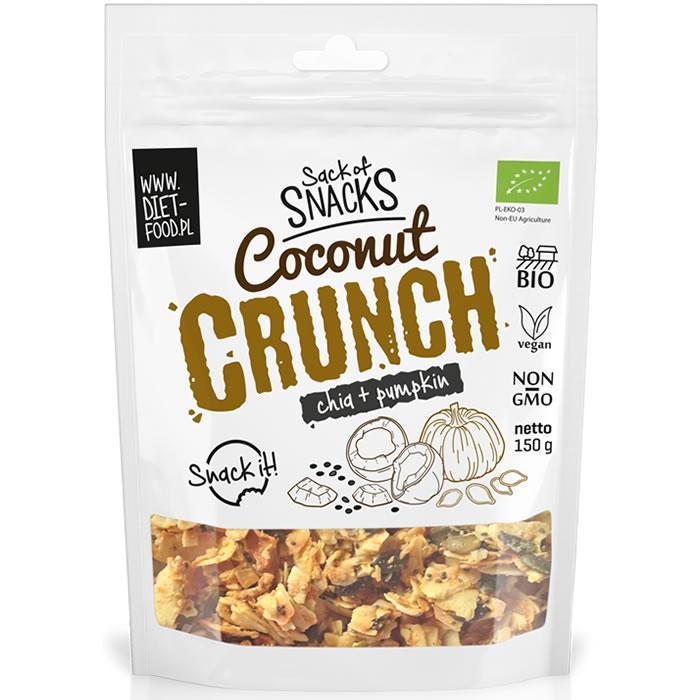 Органический кокосовый хруст (кранч) - чиа + тыквенные семечки 150г Diet Food