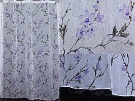 """Тюль лён, полупрозрачная ткань с сиреневыми цветами.Коллекция """"Лорен"""". Код 407т"""