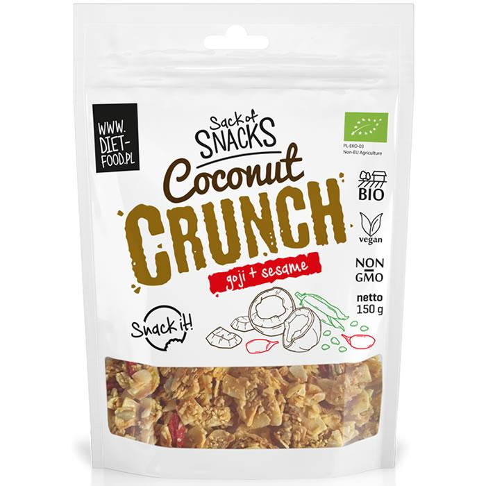 Органический кокосовый хруст (кранч) -  годжи + кунжут 150г Diet Food coconut crunch - with goji + sezam
