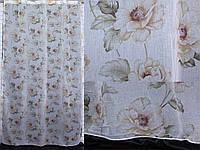 """Тюль лён, полупрозрачная ткань с кофейными цветами. Коллекция """"Лорен"""".Код 406т, фото 1"""