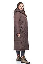 Женское пальто зимнее длинное теплое на синтепухе коричневое размеры от 42 до 54, фото 3
