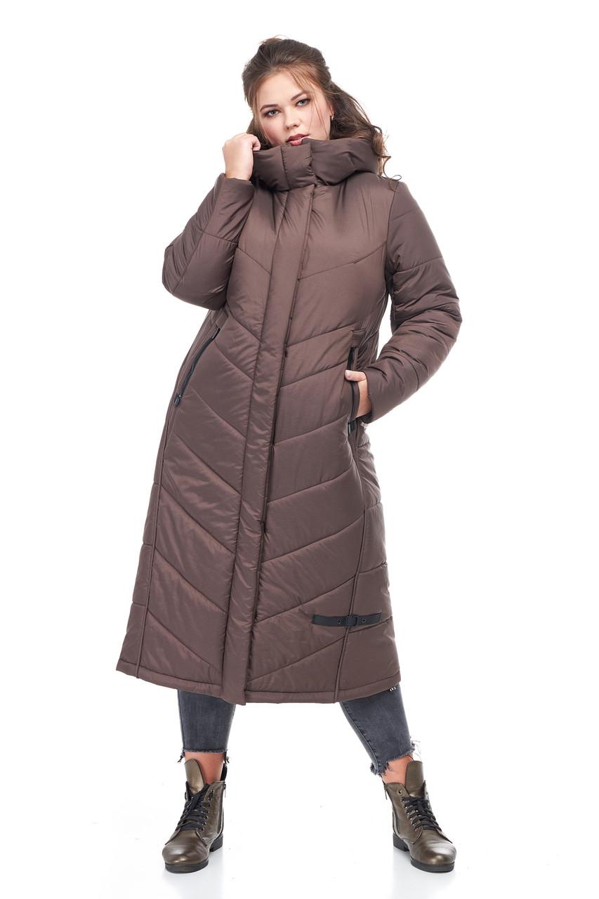 Женское пальто зимнее длинное теплое на синтепухе коричневое размеры от 42 до 54