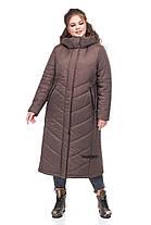 Женское пальто зимнее длинное теплое на синтепухе коричневое размеры от 42 до 54, фото 2