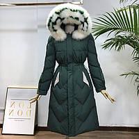 Женский зимний пуховик с натуральным мехом на капюшоне, зимнее пуховое пальто с белой опушкой, зеленый, фото 1