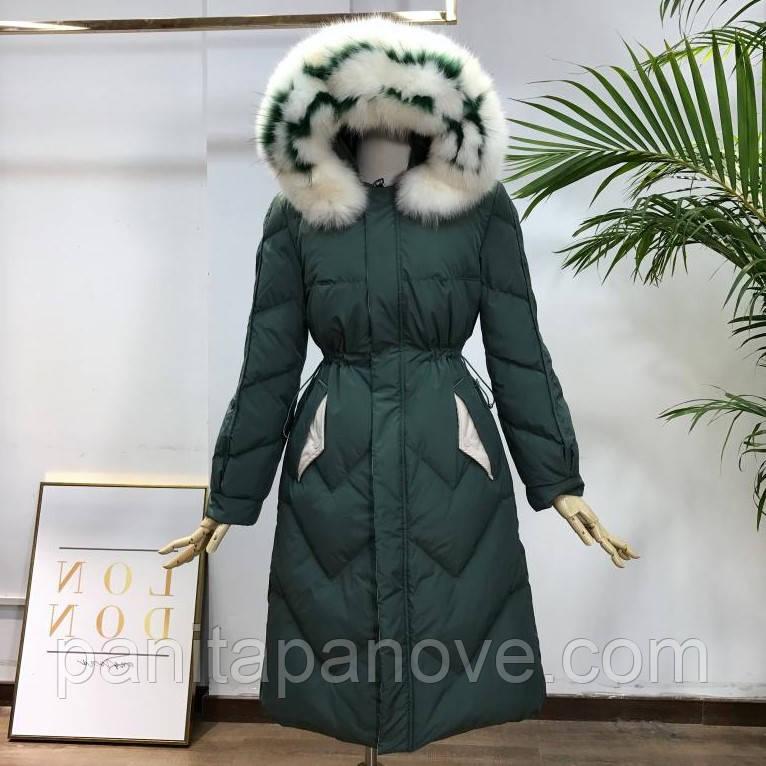 Женский зимний пуховик с натуральным мехом на капюшоне, зимнее пуховое пальто с белой опушкой, зеленый