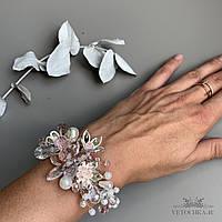 Cвадебный браслет с цветами и веточками для невесты ручной работы