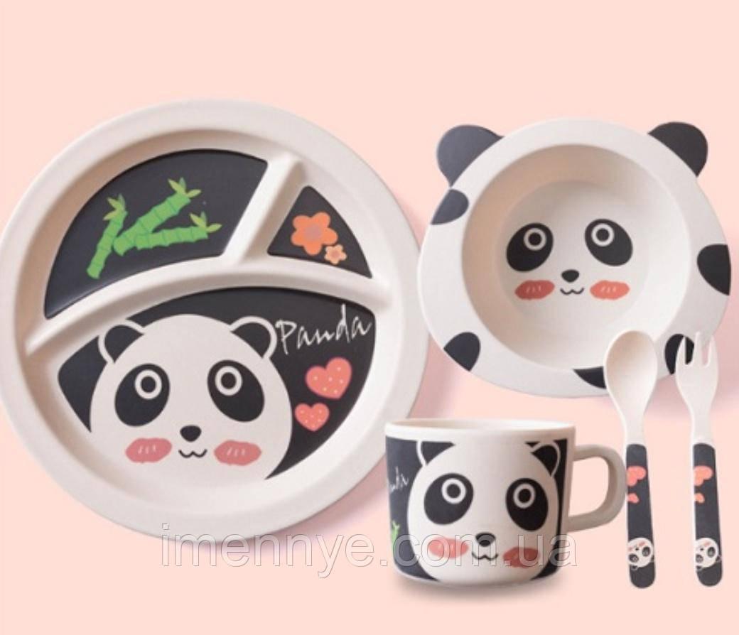 """Бамбуковый набор детской посуды """"Панда"""""""