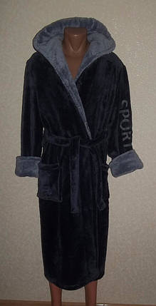 Купить недорого мужской банный халат серый, фото 2