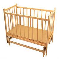 Кроватка детская классическая деревянная для новорожденных с маятниковым механизмом качания натуральная Ольха