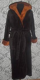 Купить недорого мужской банный халат коричневый