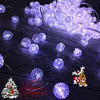 "Новогодняя гирлянда Штора ""Хрусталь"" 200 Led белая 4 х 2 м (прозрачный провод), фото 1"