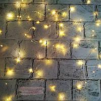 LED гирлянда, теплый свет, желтая, 5 метров (питание от батареек)
