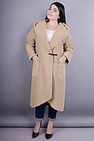 Пальто батальных размеров свободного кроя с капюшоном Сарена беж