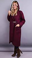 Шикарное пальто-кардиган больших размеров Сарена бордо, фото 1