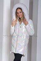 Модный пуховик с мехом енота ZLLY 19710 цвета белый хамелеон, фото 1