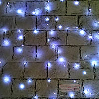 LED гирлянда, холодный свет, белая, 10 метров (на батарейках)