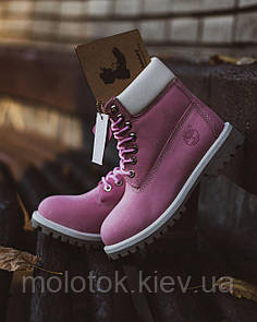 Женские зимние ботинки в стиле Timberland пудра на меху