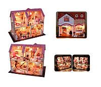 Домик конструктор деревянный двухэтажный с мебелью и аксессуарами, дом для маленьких кукол типа лол, HC000768