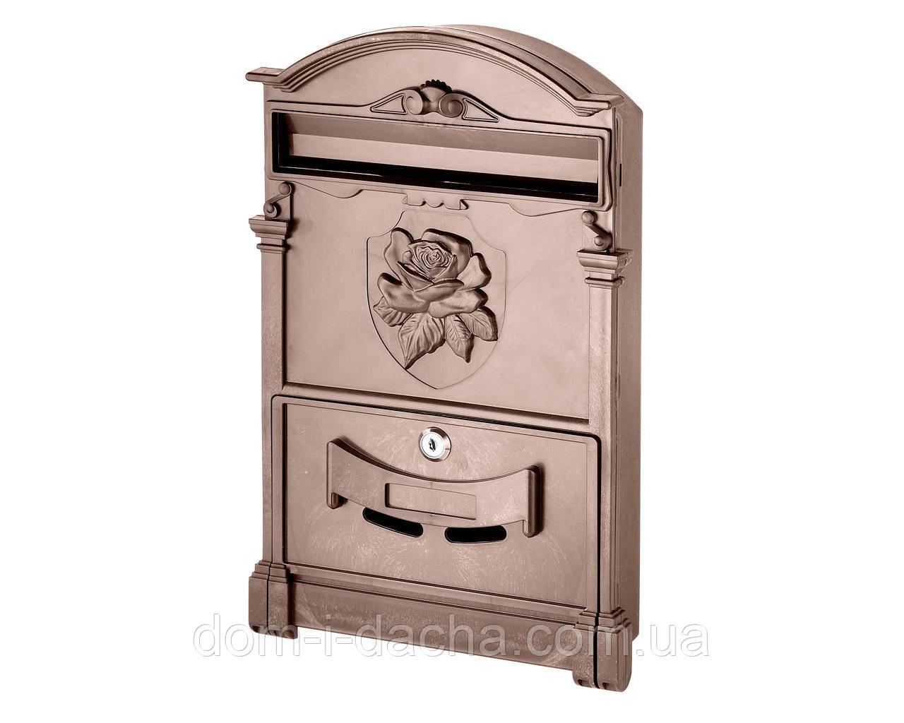 Почтовый ящик VITA коричневый Герб Роза