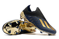 Футбольные бутсы adidas X 19+ FG Core Black/Gold Metallic/Blue