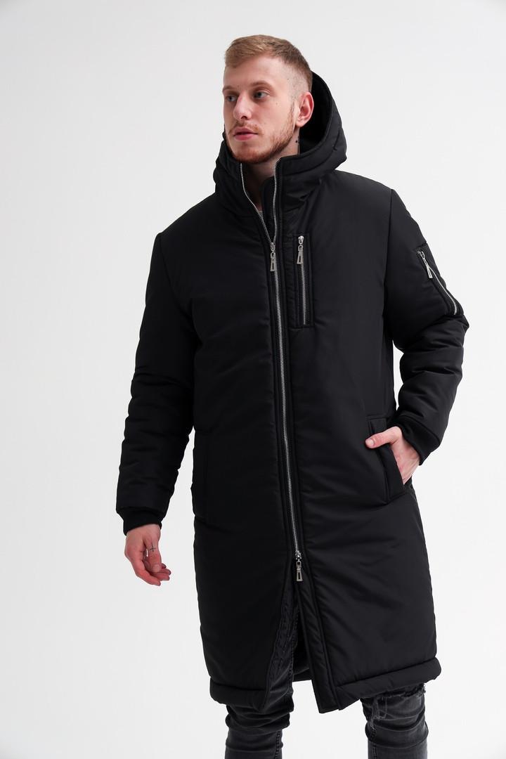 Мужская зимняя парка Asos (full black), длинная мужская зимняя парка