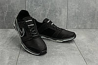 Мужские кроссовки кожаные весна/осень черные-белые New Mercury N8