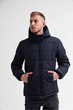Мужская зимняя классическая куртка (dark blue), теплая стеганая куртка на зиму