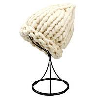 Женская шапка из крупной вязки Хельсинки бежевая, фото 1