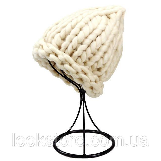 Женская шапка из крупной вязки Хельсинки бежевая