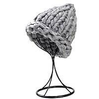 Женская шапка из крупной вязки Хельсинки серая, фото 1