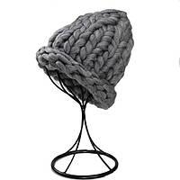 Женская шапка из крупной вязки Хельсинки темно-серая, фото 1