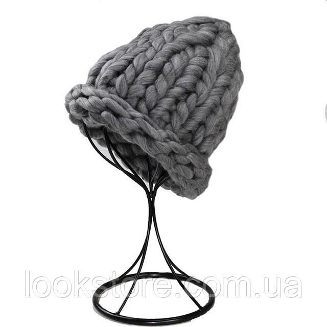 Женская шапка из крупной вязки Хельсинки темно-серая