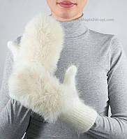 Женские зимние варежки с кроликом V-13 цвет молочный