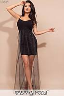 Вечернее платье на тонких бретелях с глубоким декольте и длинной юбкой из сетки с 42 по 46 размер