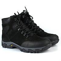 Зимние черные треккинговые ботинки из нубука на овчине мужская обувь Rosso Avangard Pro Lomerflex Black Nub