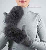 Вязаные зимние варежки с кроликом V-13 цвет маренго