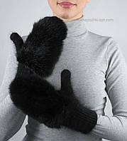 Вязаные женские варежки с кроликом V-13 цвет черный