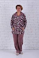 Теплая женская пижама на молнии большого размера