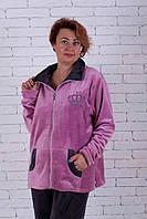Теплая женская пижама на молнии большого размера, фото 1