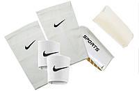 Щитки для футбола SPORTS (белые), держатели(сеточки) NIKE, тейпы (резинки) для щитков NIKE (белые)