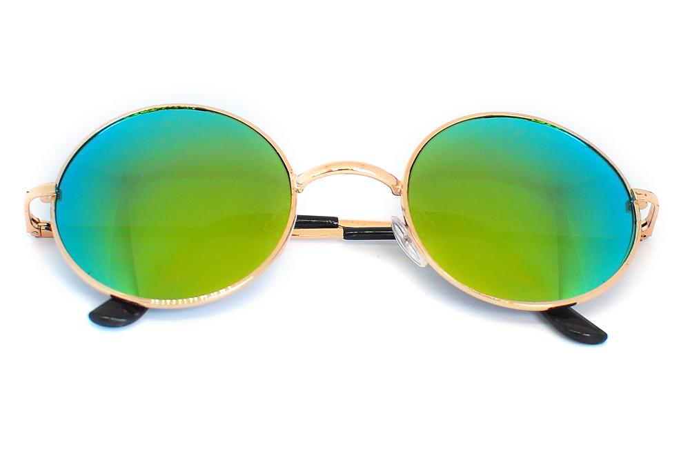 Очки солнцезащитные (SG-009) зеленый хамелеон, оправа цвет золотой