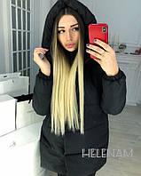 Стильная зимняя тёплая женская длинная куртка зефирка 42 44 46 48 50
